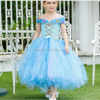 2017 New Fashion Baby Girls Kids Clothes Spring New Fashion American Style Christmas Bule Tulle Princess Dress
