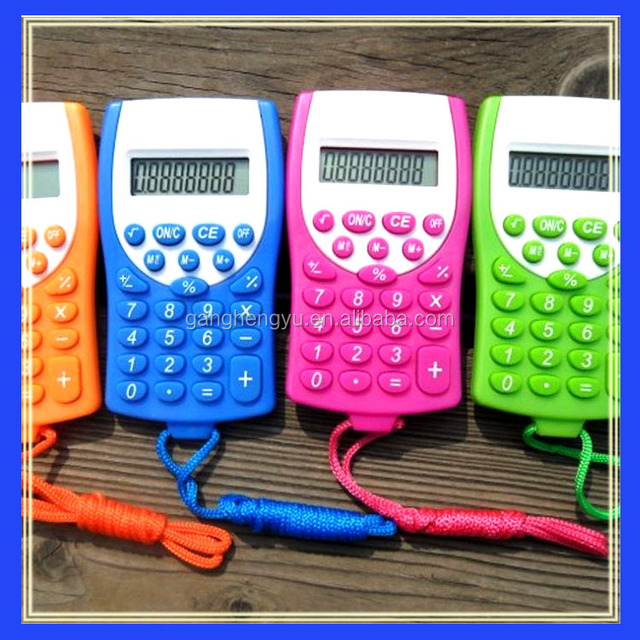 Promotional gift pocket calculator with hang rope
