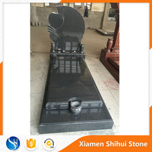 Black Granite Heart Chinese Style Tombstone With Vase And Censer