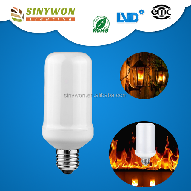 2017 Home Decorative Effect Fire Lamps E26 E27 7W 500LM LED Led Flickering Flame bulb 12v