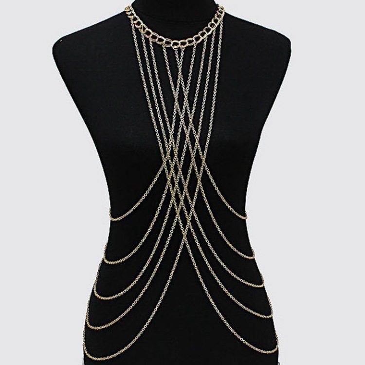 Gorgeous Womens Multilayer Necklace Bra Body Chain Vibrating Glitter Body Chains Jewelry