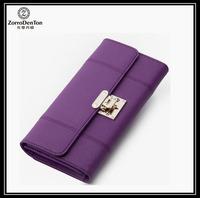 women's luxury clutch genuine cowhide leather wallet purse for lady