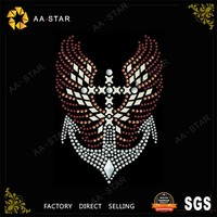 Iron on cross wings heat transfer label motif glue on rhinestone paper