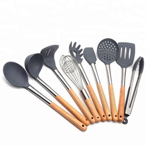 8 Pieces Silicone Wooden Kitchen Utensil Cooking Set