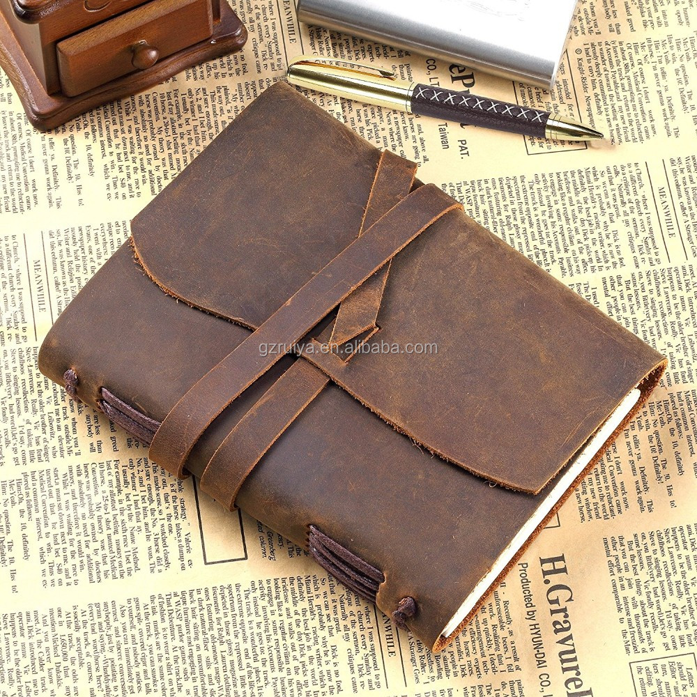 Handmade Vintage Bound NotebooK Quality Unlined Cream Paper Antique Soft Leather Journal Notebook