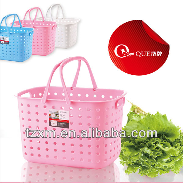plastic home general use fuit and vegetable 2 handles basket