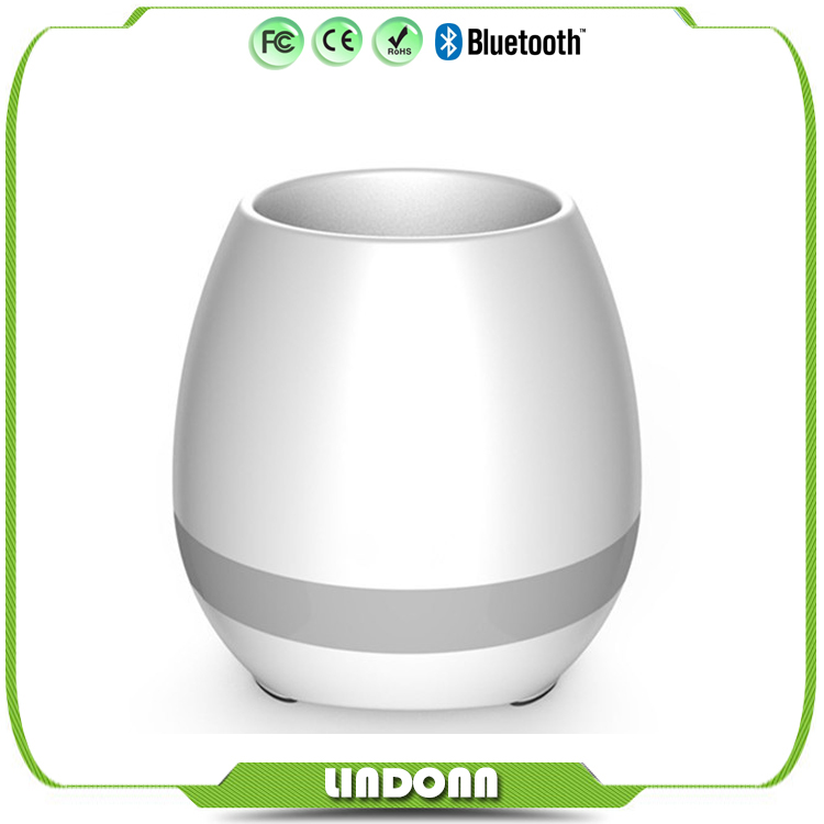 Shenzhen OEM Touching Flower Singing Plant Interaction Bluetooth Speaker LED Smart Music Flowerpot