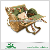 Beautifully crafted high-quality rattan wicker picnic basket for outdoor
