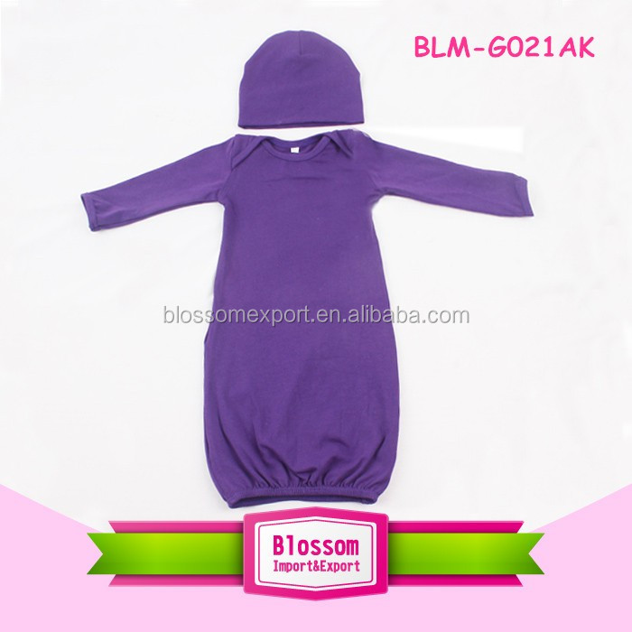 Hot sale! Infant Girls Solid Purple Long Sleeve Gown Baby Blank Cotton Evening Long Gowns For kids