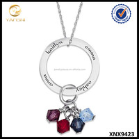 Simulated Birthstone Jewelry Sterling Silver Family Name Circle Pendant Necklace