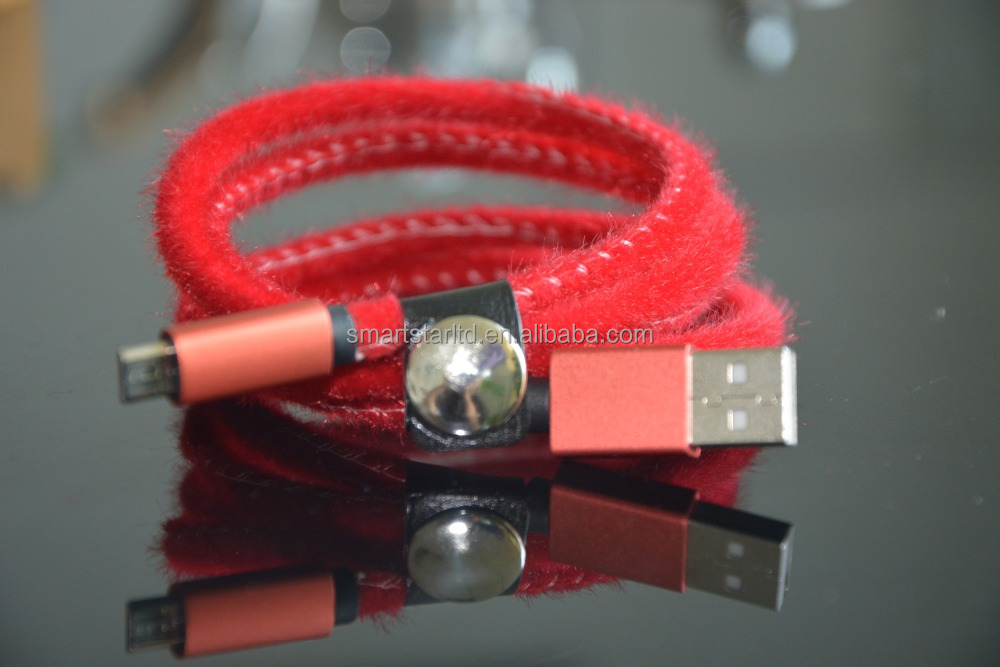 Logo Customized Colorful Leather Micro USB2.0 Charging Cable for Bluetooth Keyboard