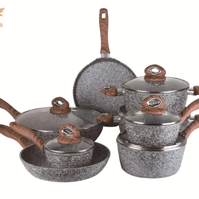 Forged aluminum stone coating non stick cookware pot sets with wooden handle sauce pan milk pan