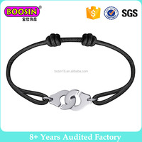 Men Women Handmade Black Rope Handcuffs Cord Bracelet #B303