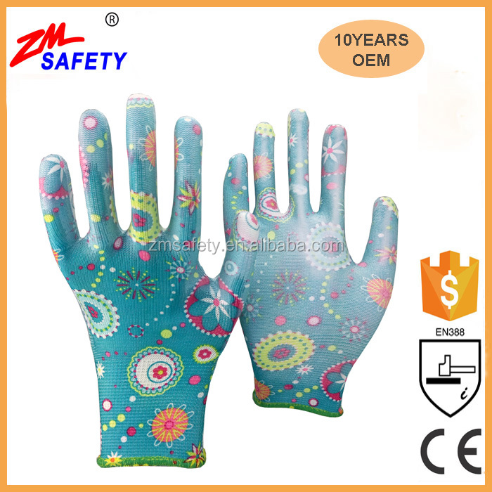 ZMSAFETY 13Gauge Flower Print Polyester Anti-slip PU Garden Glove for Women