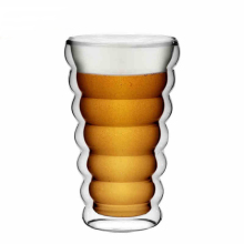 Promotional thickened spiral creative double glass beer mug, juice cup
