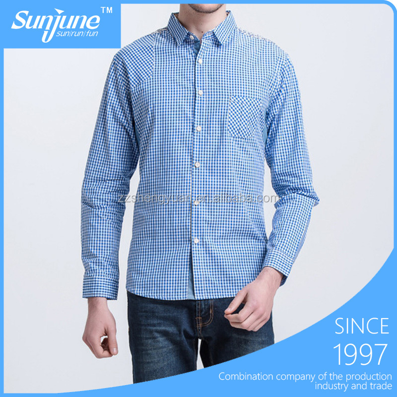 Pure Cotton Plaid Mens Shirts With Long Sleecve