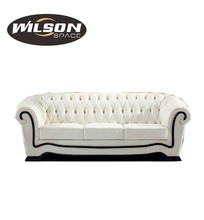 Modern fashional white genuine leather sofa , elegant snow white sectional chesterfield sofa