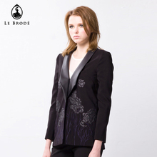 black winter coat embroidery leather jacket for women