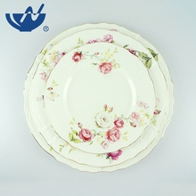 Beautiful embross home use round bulk white dinner dishes and ceramic plates set