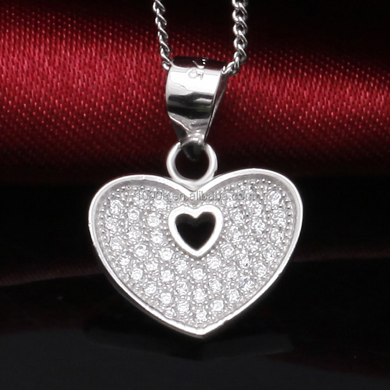 Simple classic design heart shaped 925 sterling silver pendant micro pave diamond necklace