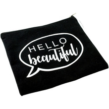 10 OZ Black 100% Cotton Canvas Gift Pouch Custom Portable Makeup Bag Travel