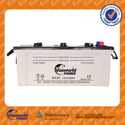 Auto Electrical system 12v 120ah auto battery dry charged car battery