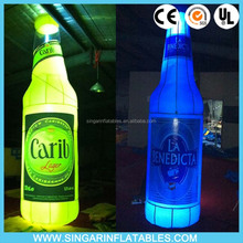 Custom Made Advertising Giant Inflatable Liquor Bottle/ Led lighting up bottle inflatable