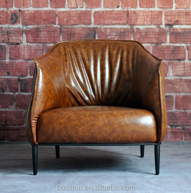 American industrial vintage style leather sofa for living room
