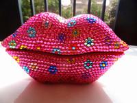 Novelty crystal red lip telephone set rhinestone telephone
