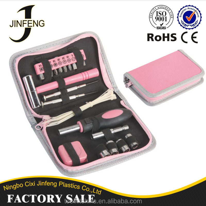 Cixi Manufacturer Toolbox set Simple Design Quality Ladies Tool Kit Pink Tool Set With 10 Interchangeable Heads