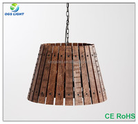 Hot sale wooden lampshade iron chain pendant light for loft cafe decoration