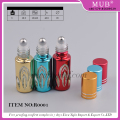 Wholesale mini 3ml roll on glass bottle for essential oil, empty uv gel colored roll on perfume bottles with aluminum cap