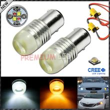 Canbus Error Free High Power CRE'E 1157 BA15s Dual-Color Switchback LED Bulbs For Front Turn Signal + Load Resistor Combo