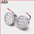 AES LED Projector Retrofit High Beam Projector Lens with LED Devil Eyes for Car Headlights