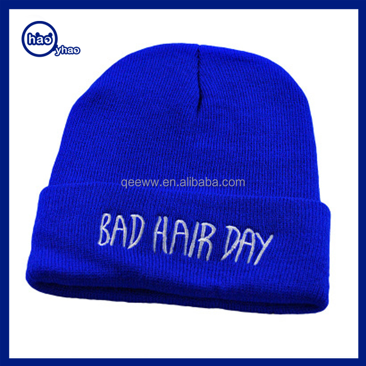 Custom Black Acrylic Knit Hat/ Beanie/ Winter Hat Embroidered Logo 2016 Wholesale