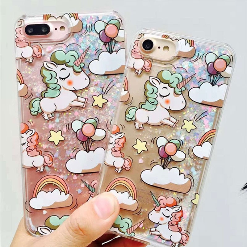 Cell Phone Accessory Unicorn Liquid Quicksand Free Sample Case For iPhone7 Cover