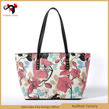 spring fashion handbag canvas mixed leather bag