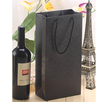 UV luxury black paper bag double vessel wine gift bag/ fashion wine printed paper hand bag