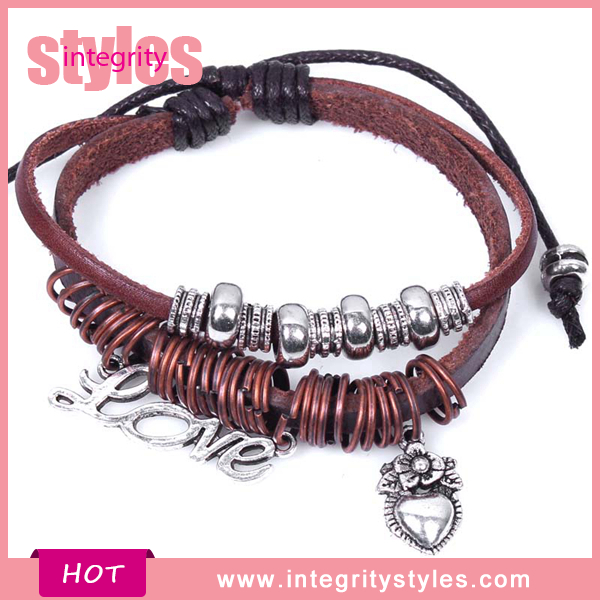 Jewelry Adjustable Bio Magnetic Leather Bracelet With Heart Tag