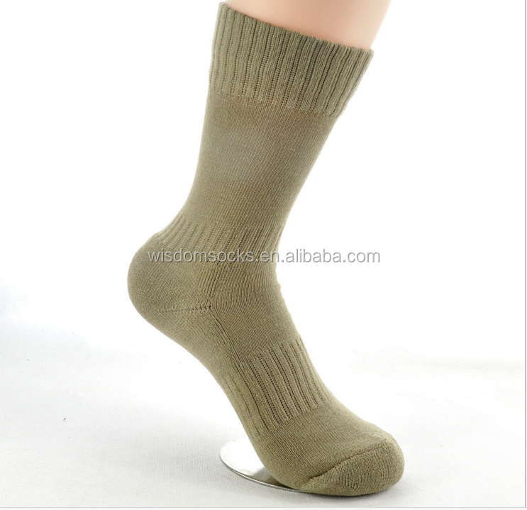 High quality cushioned sole navy blue men wool army socks