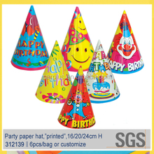 Custom Printed Happy Birthday Paper Hat for Kids Party