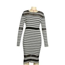 Cross stripped long sleeve tight daily wear women dress