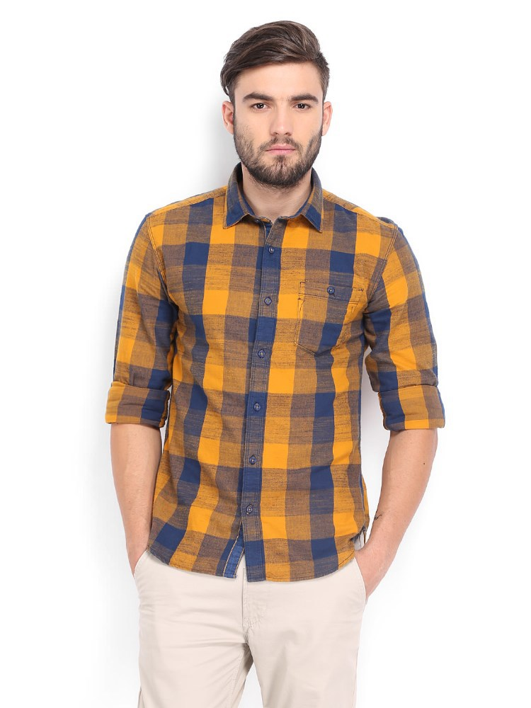 Men yellow blue checked slim fit casual shirt cheap shirts for Cheap slim fit shirts