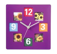 Square plastic photo frame wall clock for children