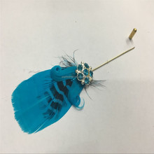 Feather Plug Lapel Stick Hat Prom Corsage Wedding Pin Brooch PM-296