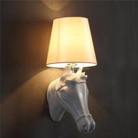 Industrial modern style fiber glass corner wall light with horse head