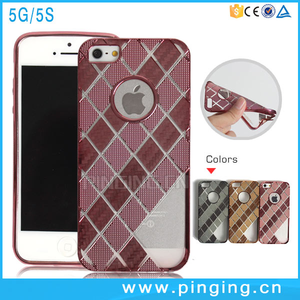 2016 New Diamond lattice Design Electroplate TPU Case For iPhone 5