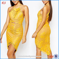 china supplier wholesale cheap price western mature woman wear cut out front midi yellow lace club sexy dress in eyelash lace