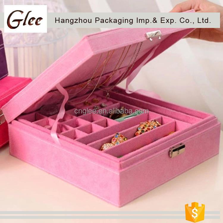 Marvelous ,fashional factory direct sale OEM handmade mirror leather jewellery box with compartments