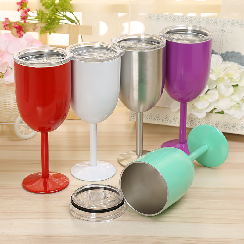 Beauchy 300ml 304 stainless steel wine glass cup with long stem, metal glass cup for drinking red wine
